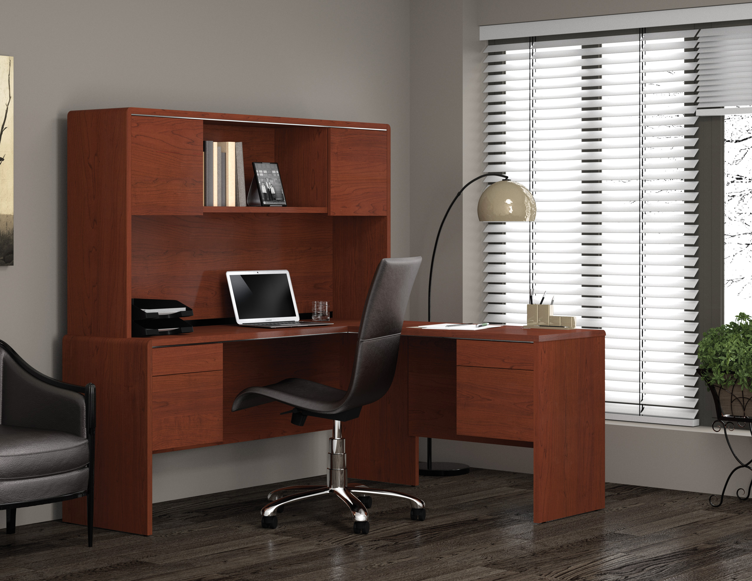 good home office ideas with wooden l shaped desk with hutch plus laptop or computer set stand plus chair and floor standing lamp on gray floor
