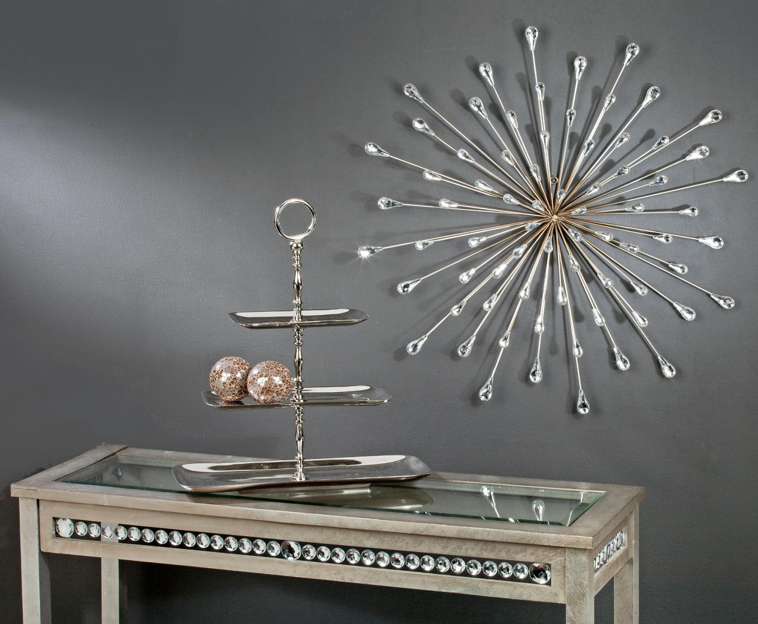 Gorgeous starburst wall decor on grey wall pus table for inspiring home decor ideas