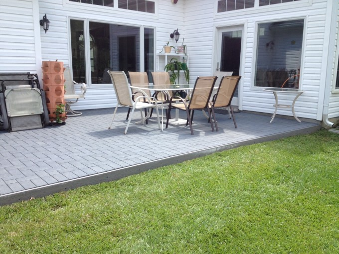 Gray Azek Pavers Matched With White Wall Plus Outdoor Dining Table For Exterior Design Ideas