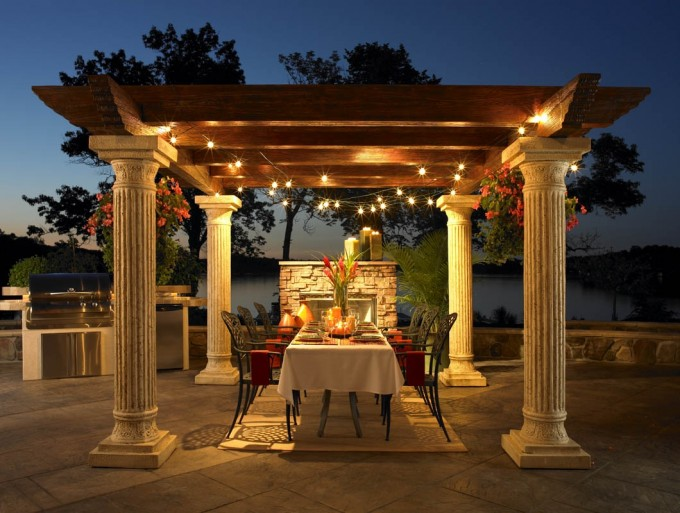 Great Pergola Plans With Great Lighting Plus White Pole Ideas With Wanderful Dining Table And Nice Fireplace Looks So Luxury Yard