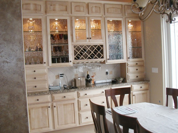 Great Wheat Kitchen Cabinet Refacing With Marble Countertop Plus Dining Table And Chandelier For Kitchen Decor Ideas