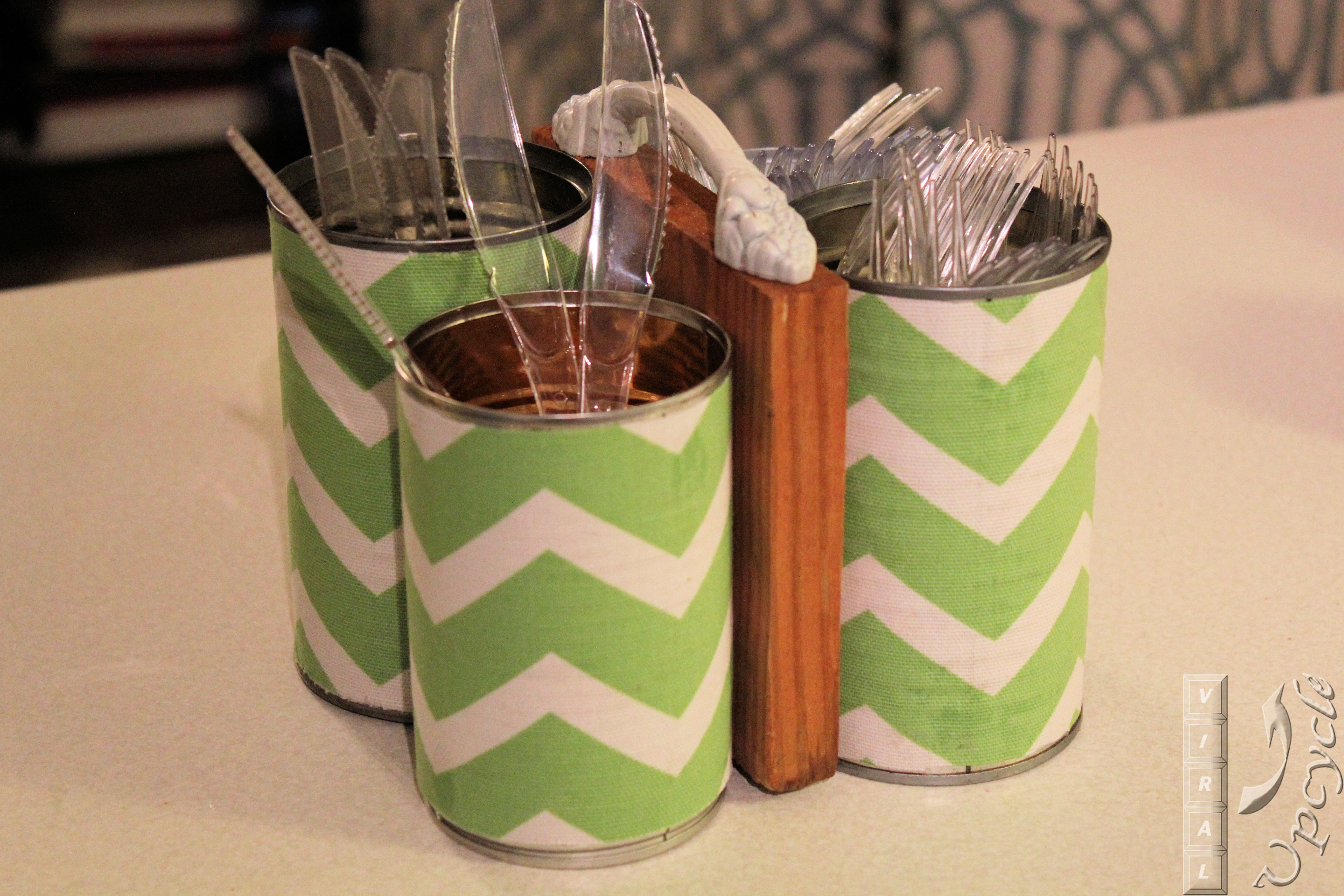 green and white chevron motif on Utensil Caddy for kitchen accessories ideas