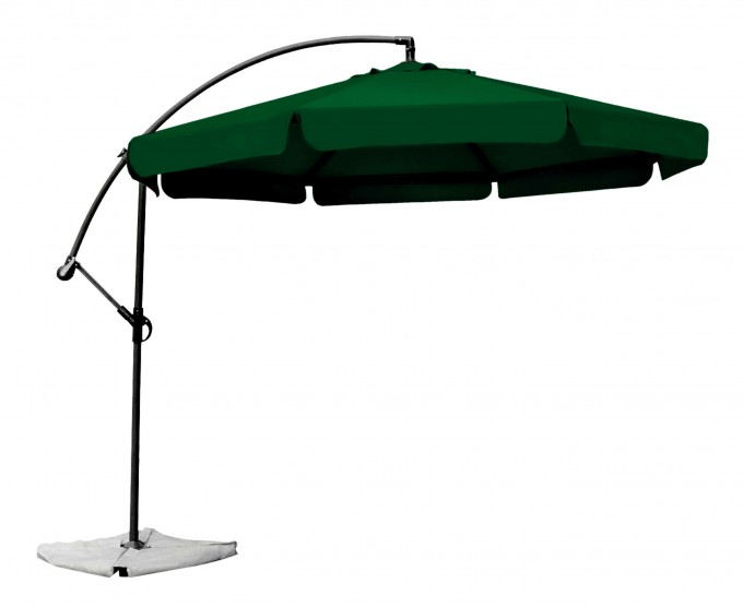 Green Cantilever Umbrella With Brown Stand For Inspiring Patio Furniture Ideas