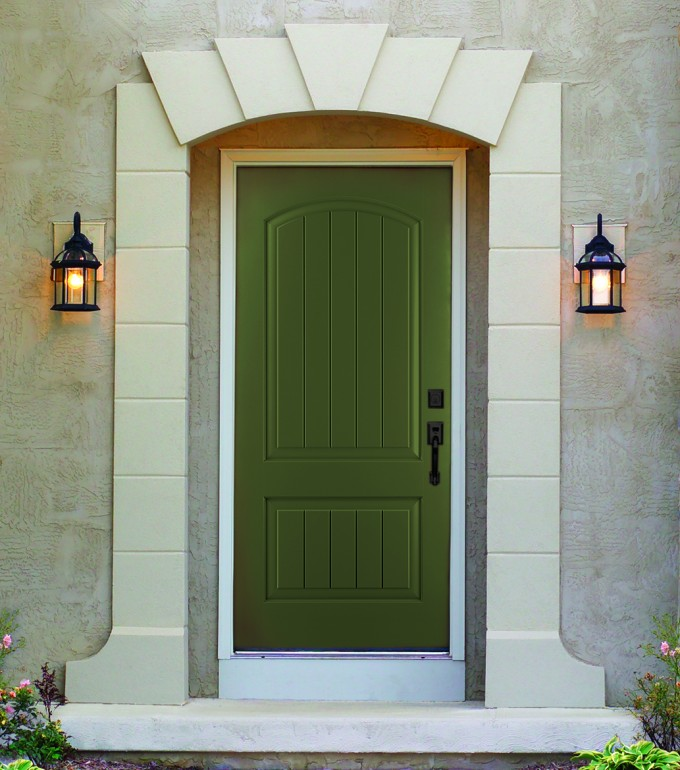Green Therma Tru Entry Doors With Black Handle Matched With White Wall Plus Lamps Ideas