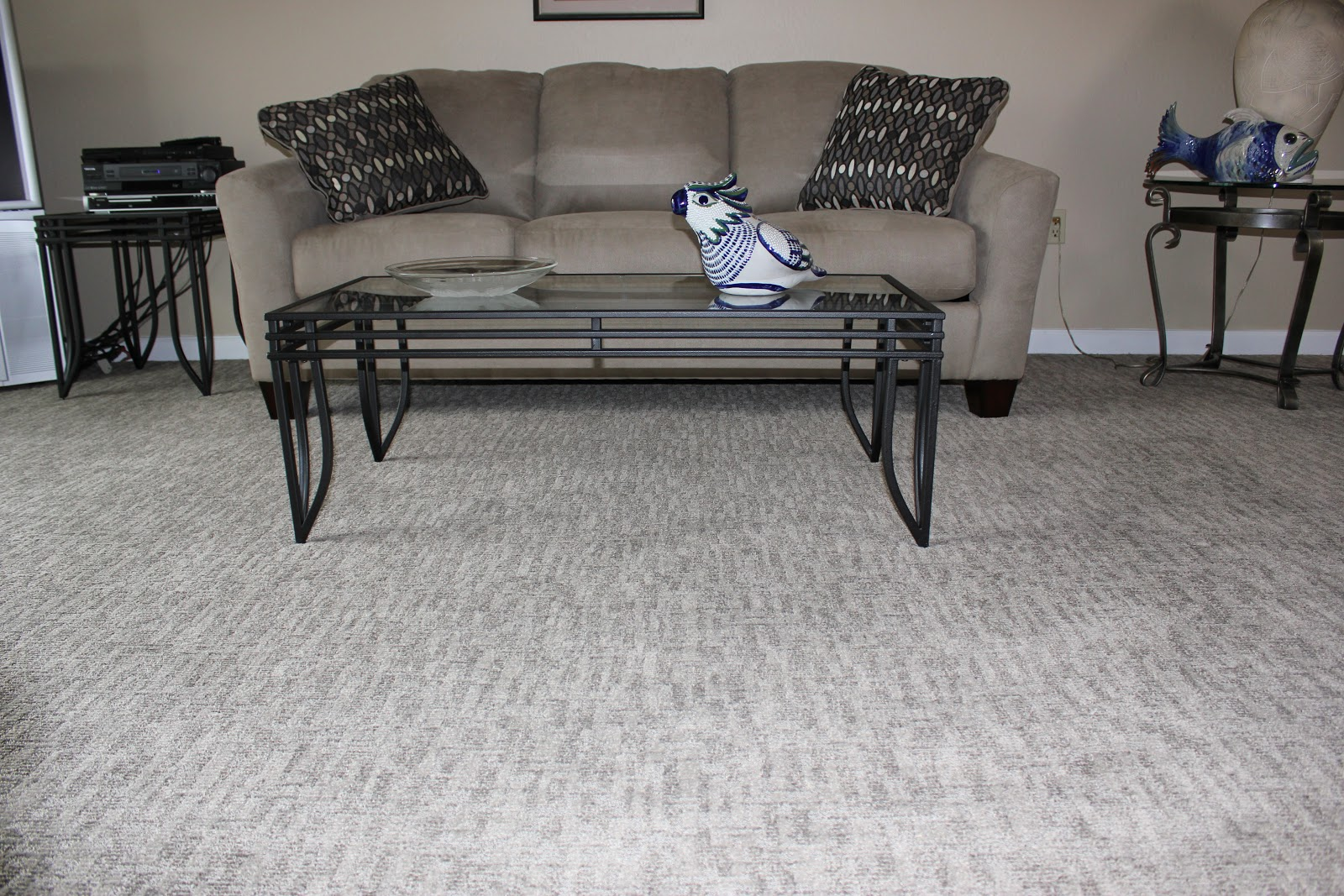 grey masland carpet with tan sofa plus cushions for living room decor ideas