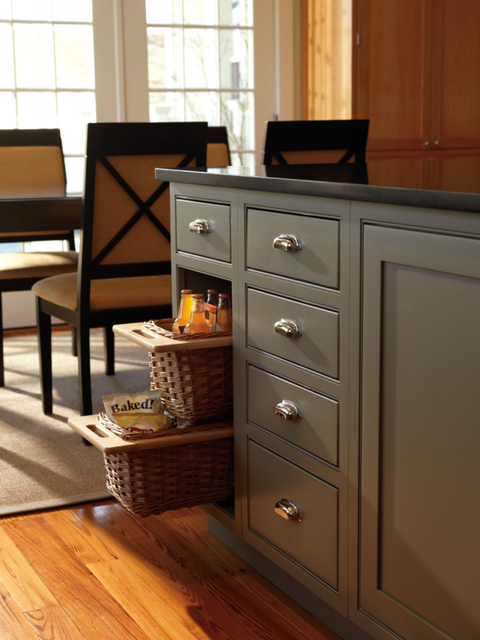 Grey Thomasville Cabinets With Silver Handle And Black Countertop Plus Rattan Boxes For Kitchen Furniture Ideas