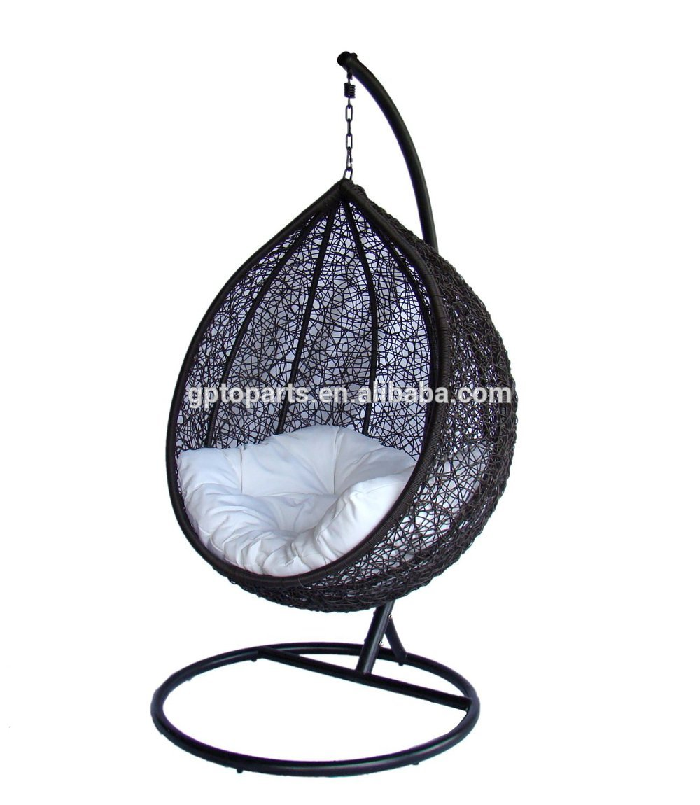 half round brown wicker rattan swingasan chair with white cushion and metal stand ideas