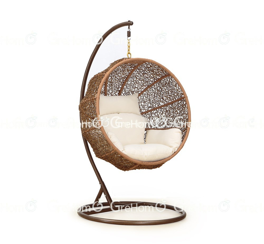 half round mocca rattan swingasan chair with white cushion and brown stand for charming furniture ideas