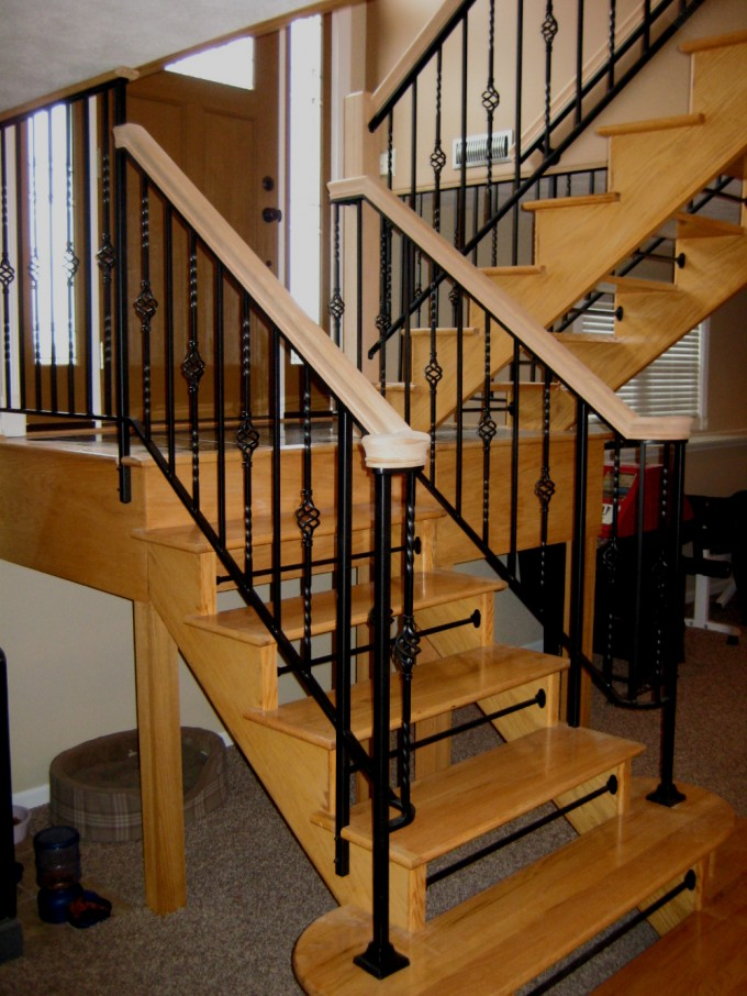 Handrails For Stairs In Cream And Black With Wooden Treads Ideas With Wooden Door And White Wall
