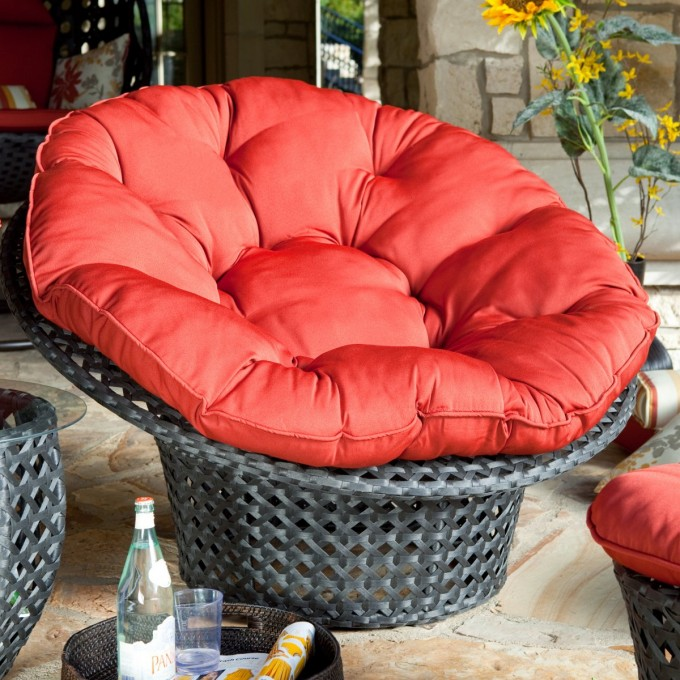 Handsome Outdoor Living Room Design With Black Cane Papasan Chair With Red Tufted Leather Cushion Cover Ideas
