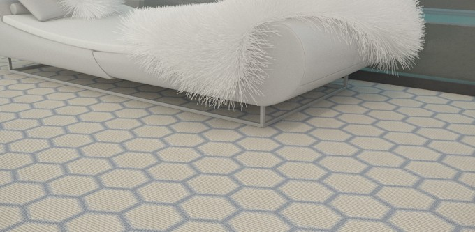Hexagion Motif On Masland Carpet Plus White Sofa Ideas