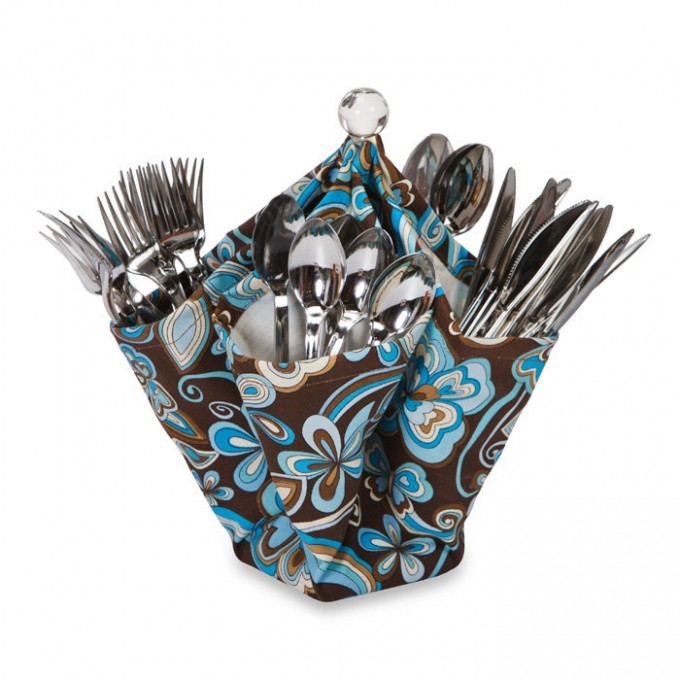 Home Accessories Inspiring Creativity Design For Picnic Utensil Caddy With Floral Motif