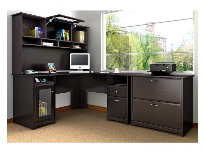Home Office Decor With Black L Shaped Desk With Hutch Plus Computer Set Plus Glass Window And Blue Wall And Cream Floor
