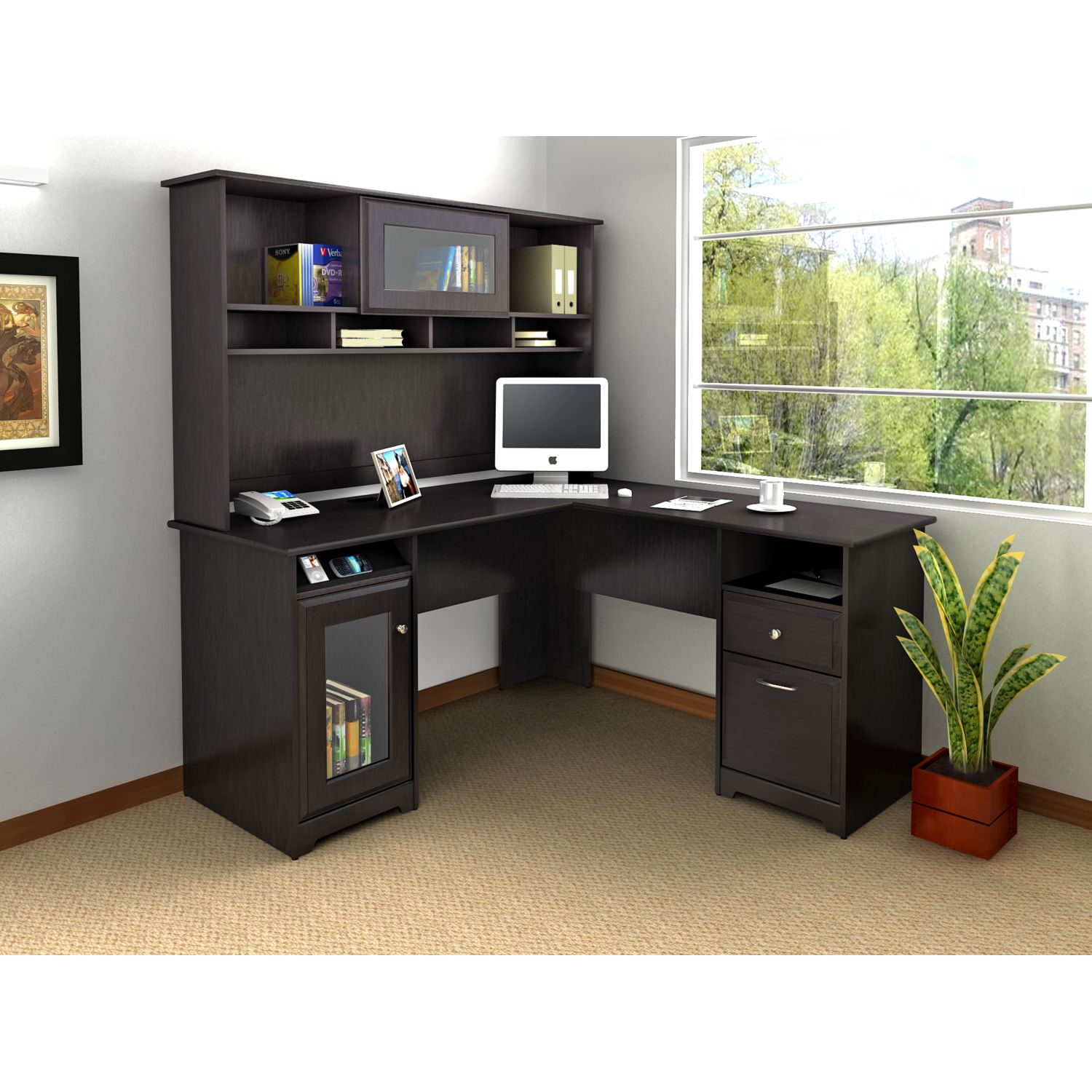 home office decor with black L Shaped Desk With Hutch plus computer set plus glass window and blue wall