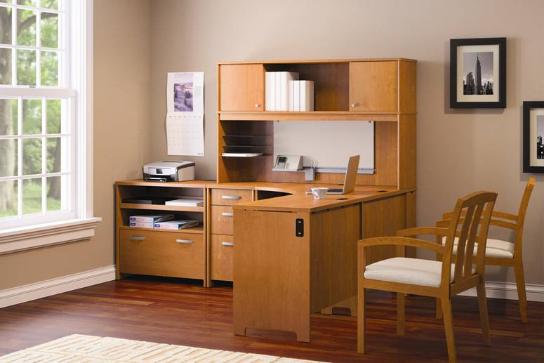 home office ideas with wooden L Shaped Desk with Hutch near the white hung window