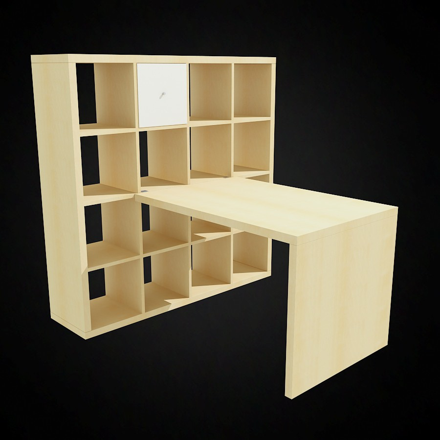 Ikea Expedit Bookcase and Desk Famous models for 3d visualization