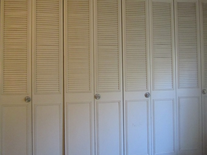 Imposing Rustic Natural Teak Wood Folding Closet Doors In White With Silver Handle