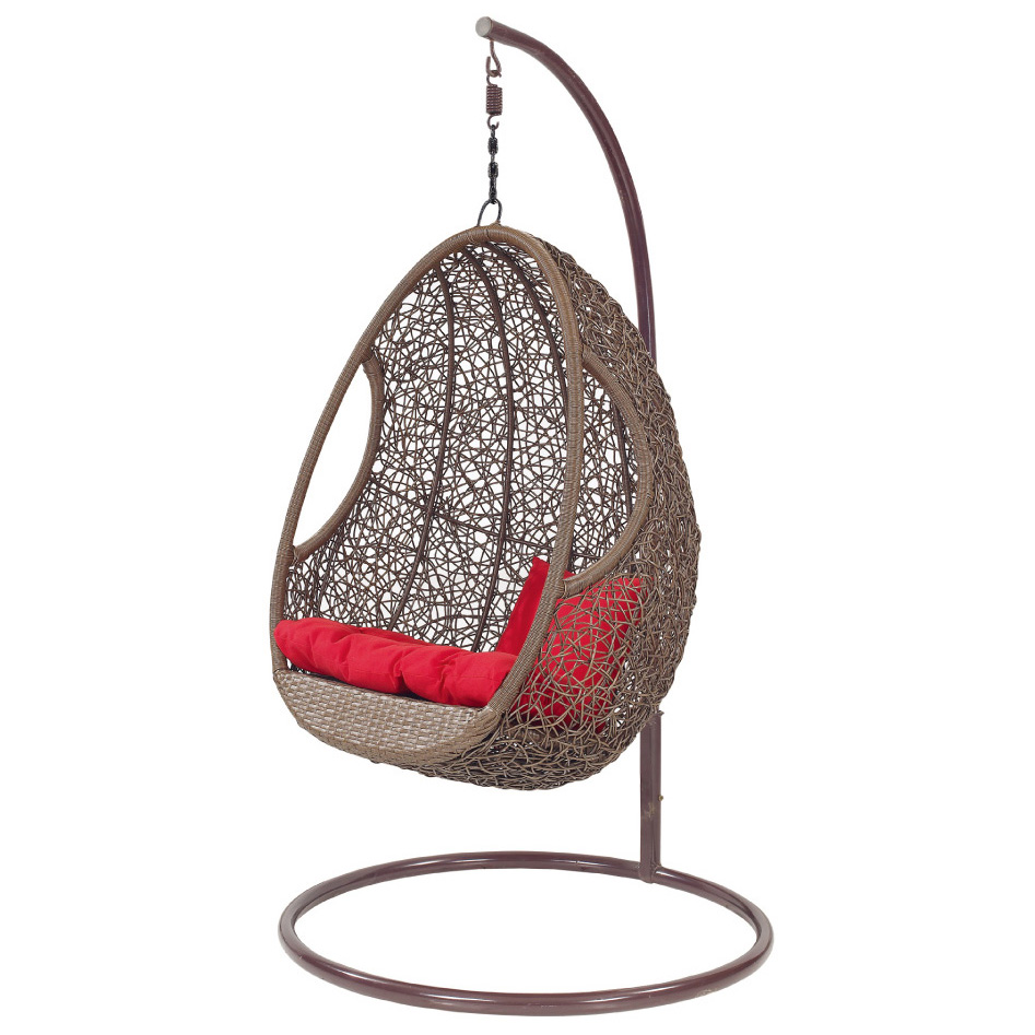 Indoor Brown Rattan Swingasan Chair With Red Cushion And Metal Stand Ideas