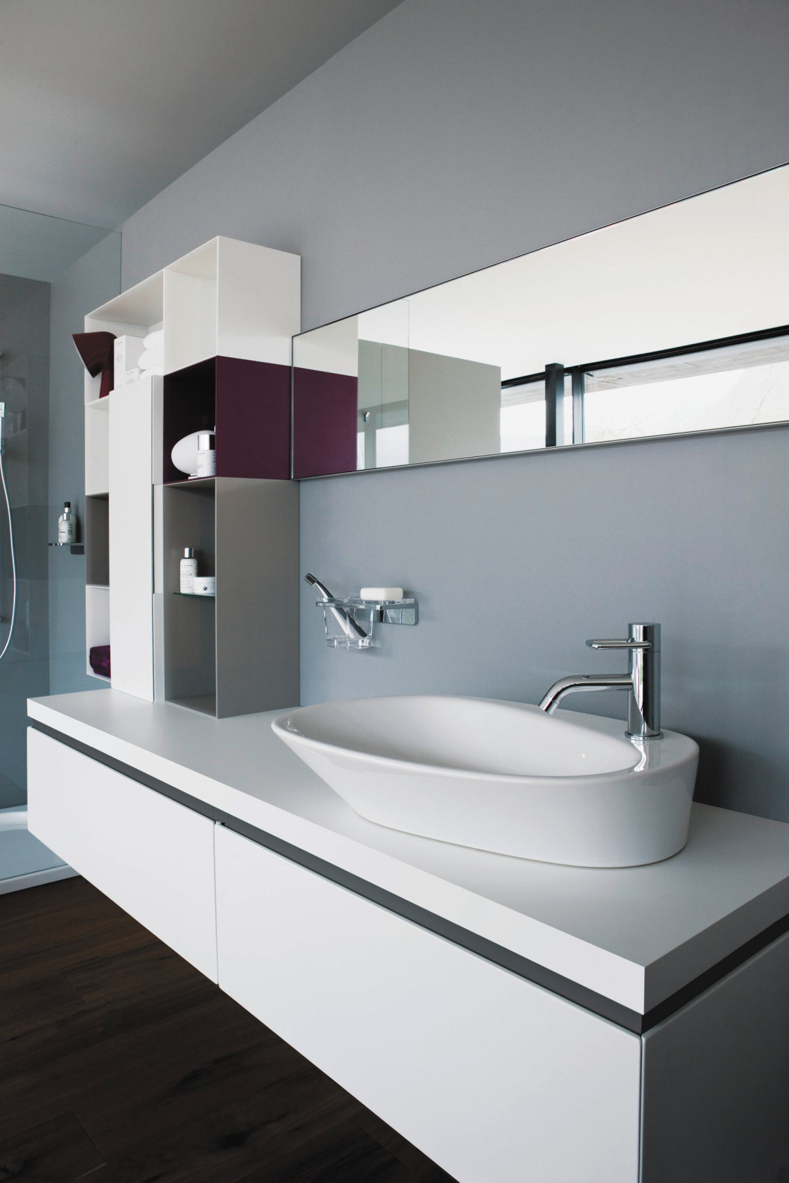 inspiring bathroom decoration with silver faucet direct plus white sink matched with gray ideas