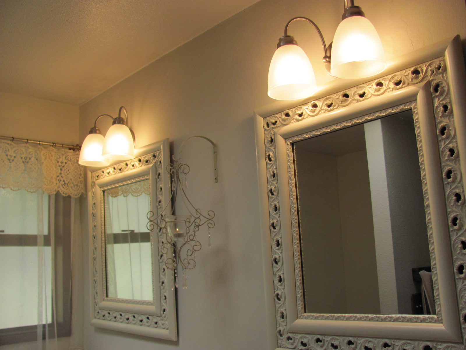 inspiring bathroom with cool lowes bathroom lighting plus double mirror on the wall ideas