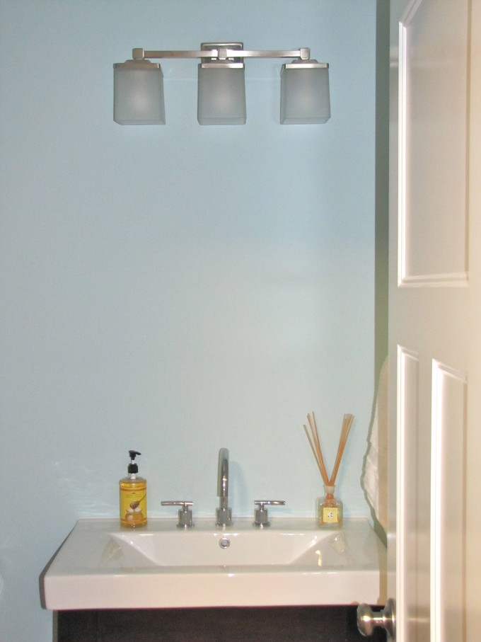 Inspiring Bathroom With Lowes Bathroom Lighting On The Blue Wall Plus White Sink Ideas