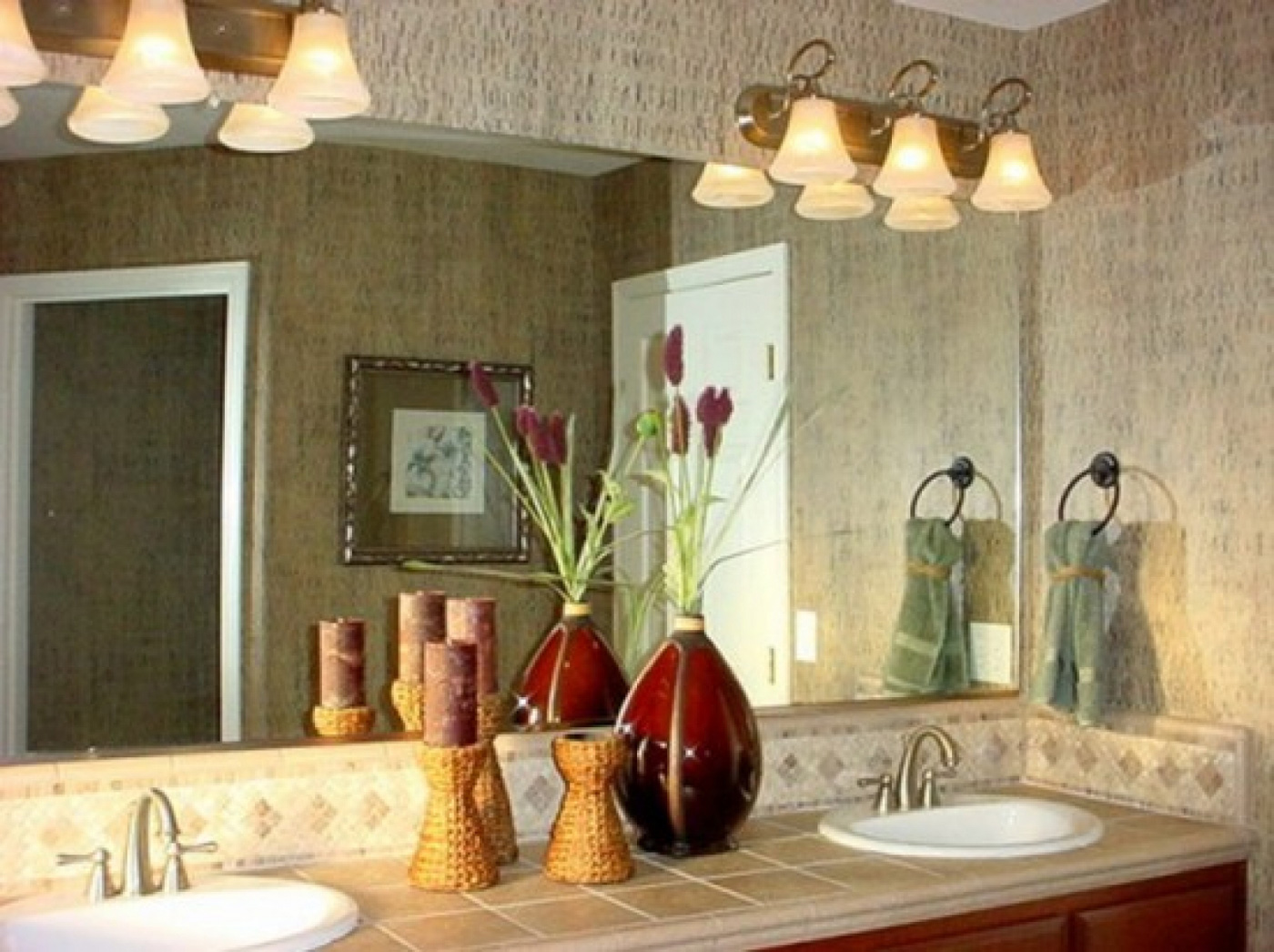 inspiring bathroom with Lowes Lighting Bathroom and mirror plus white sink