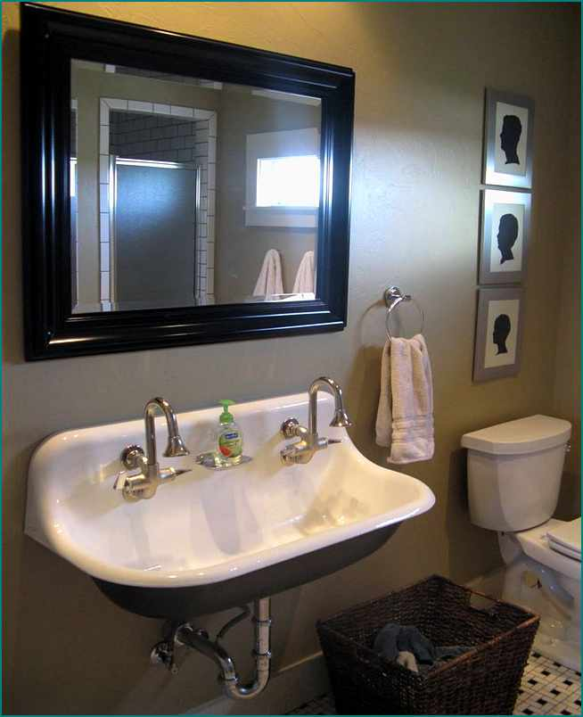 inspiring bathroom with white surface kohler sinks plus double faucet and mirror with black frame plus towel ring hanger ideas