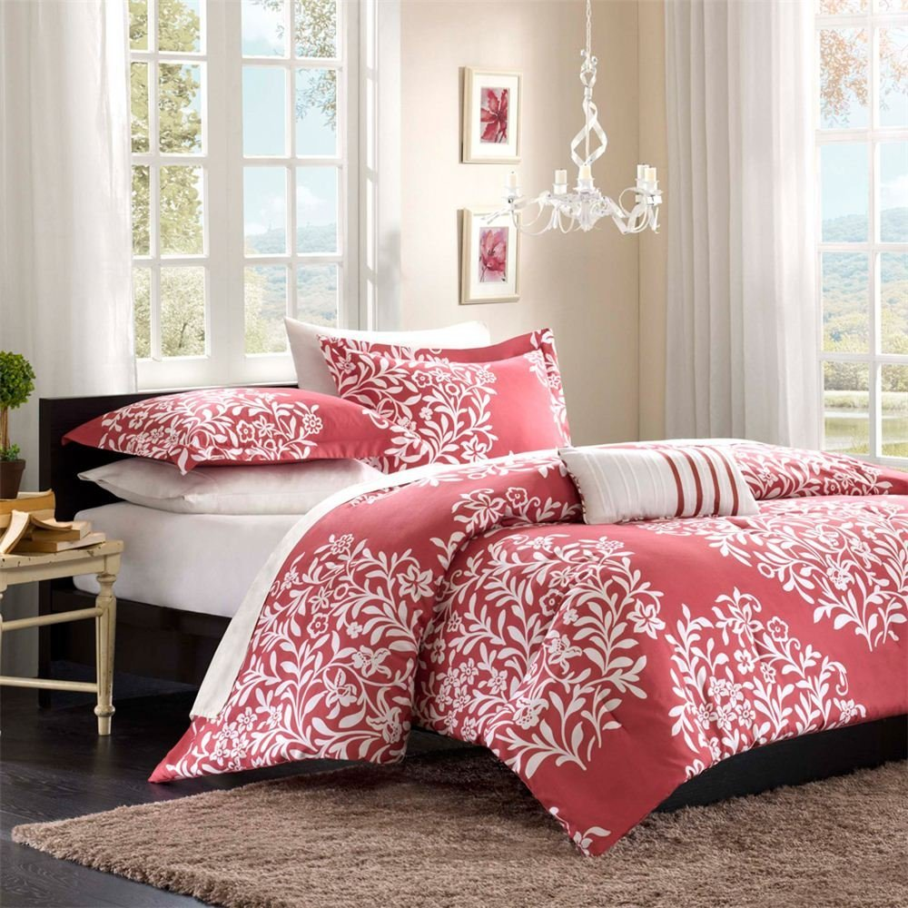 inspiring bedroom decor with red floral lilly pulitzer bedding plus white  wall and curtains plus chandelier. Bedroom  Recommended Bedding Ideas By Lilly Pulitzer Bedding