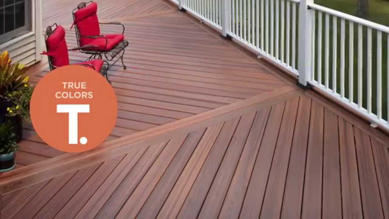 inspiring deck ideas with brown evergrain decking matched with white railing plus red sofa set
