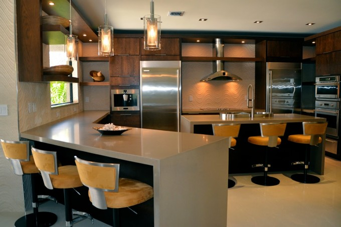 Inspiring Kitchen Decoe With Peru Lafata Cabinets With Oven And Frige Plus Bar Table Ideas
