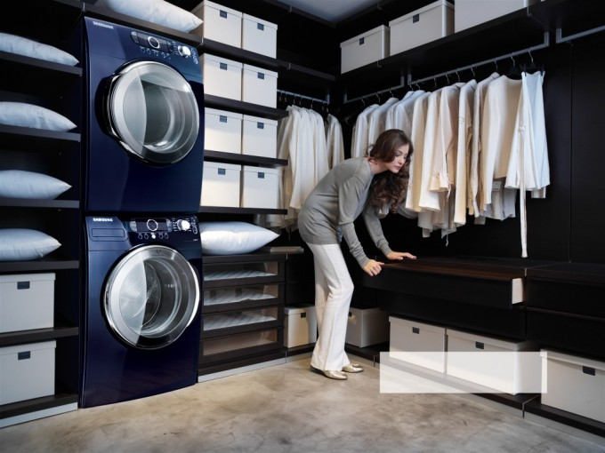 Inspiring Laundry Room With Blue Stackable Washer And Dryer Plus Storage And Clothes Shelve Ideas