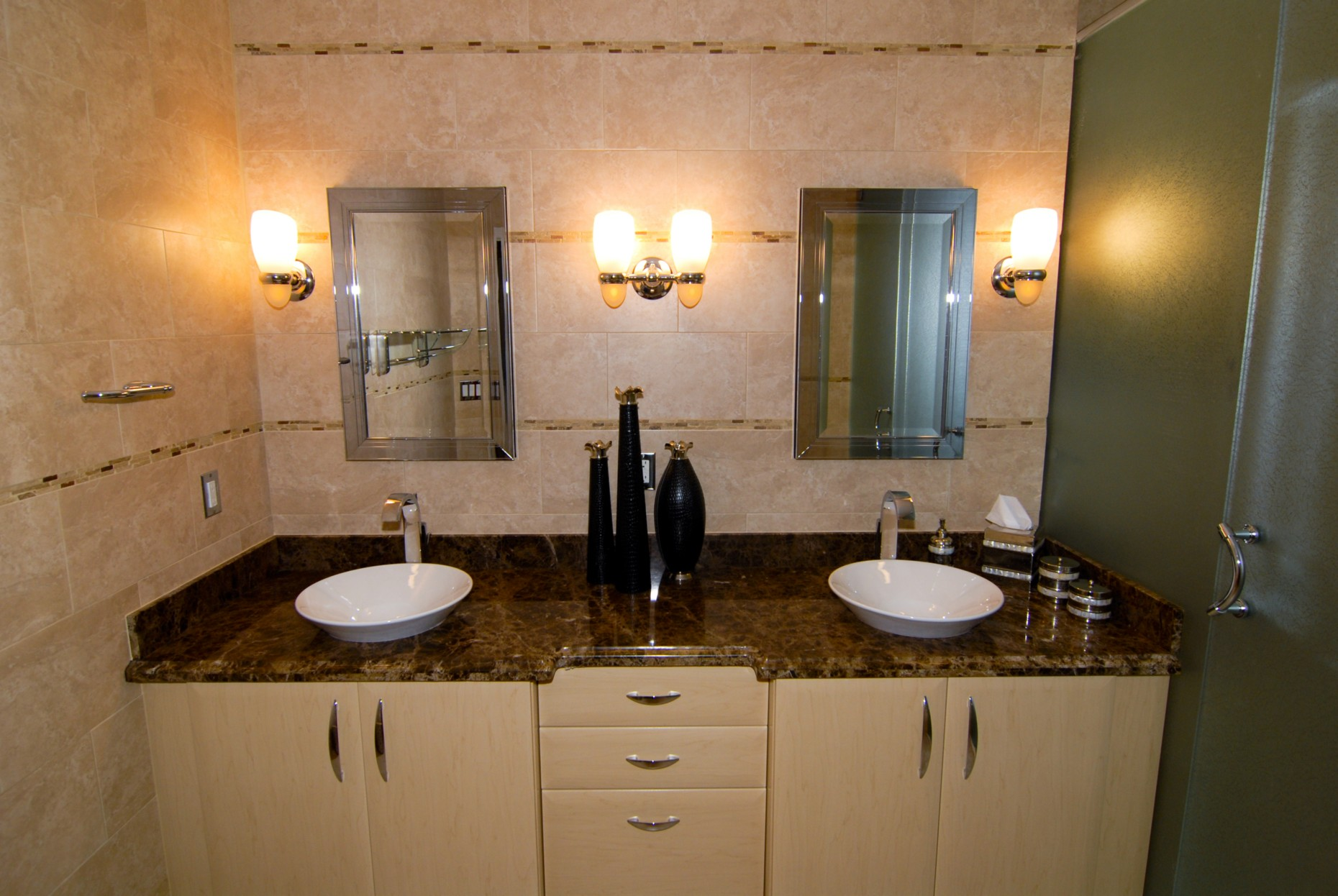 inspiring lowes bathroom lighting plus double mirrors on the wall plus double sink plus bathroom cabinet for bathroom decor inspiration