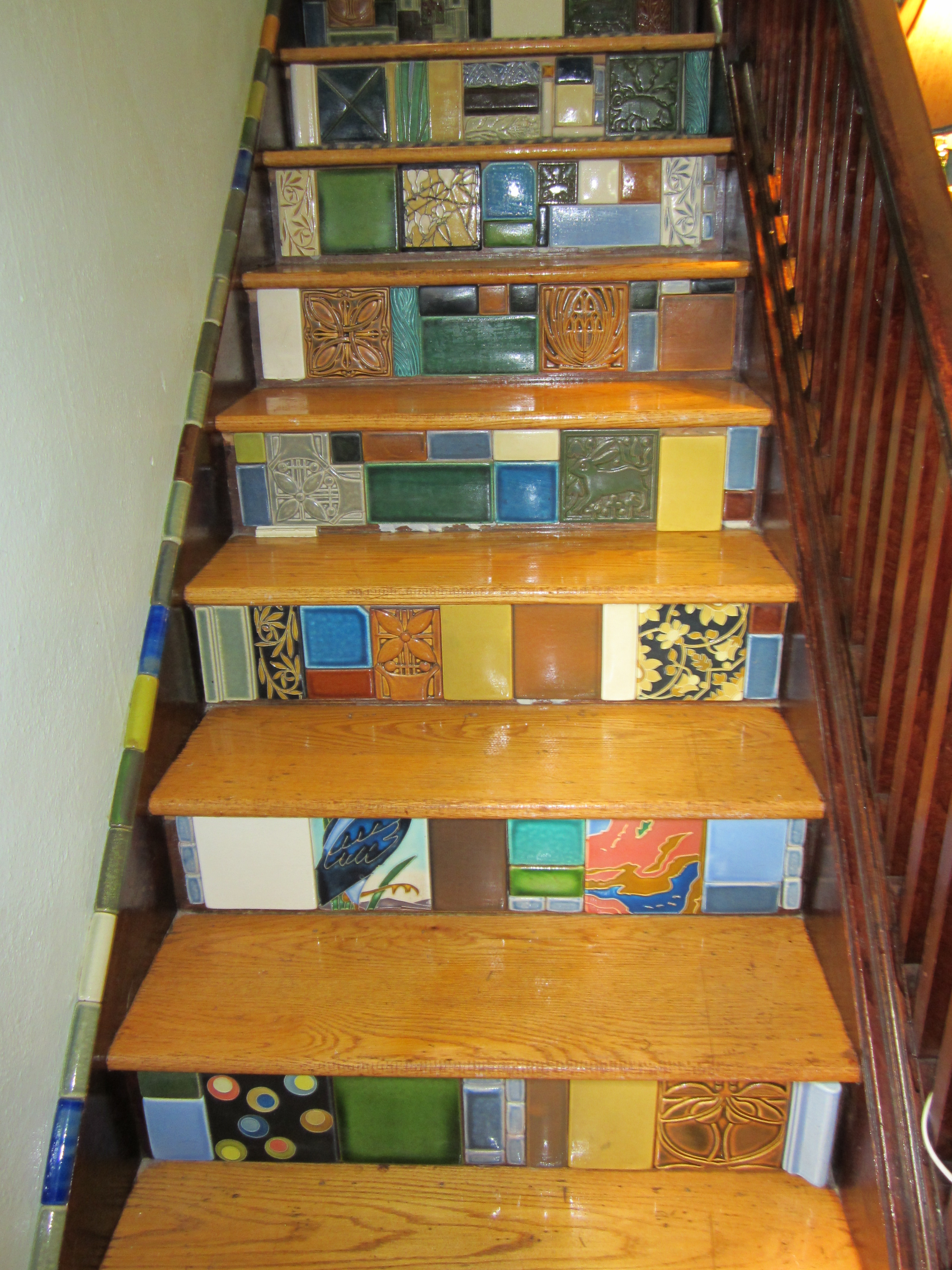 Beautiful Motawi Tile For Wall Ornament Ideas: Inspiring Motawi Tile Stair  Risers