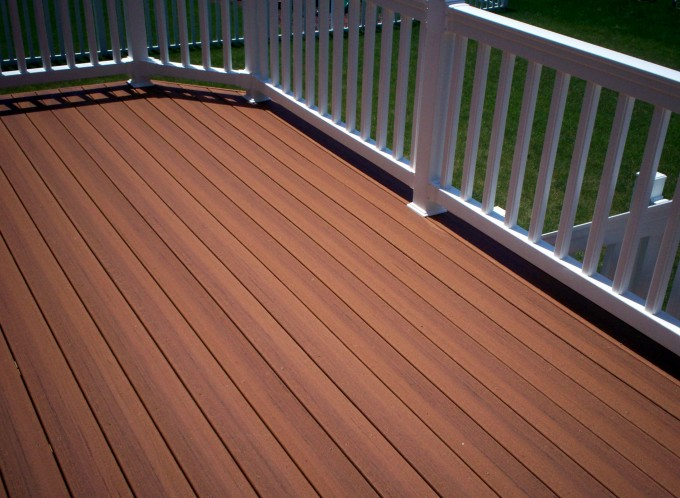 Inspiring Patio Decor With Peru Evergrain Decking Matched With White Railing Ideas