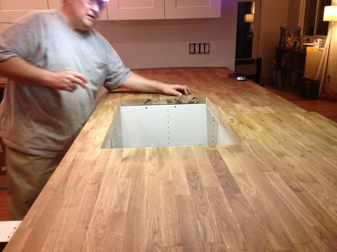 Installation Of Butcher Block Countertops On A Kitchen