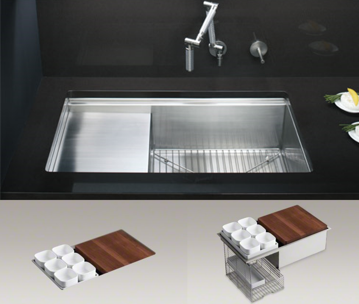Integrated Kitchen kohler Sinks plus modern silver faucet on black countertop ideas