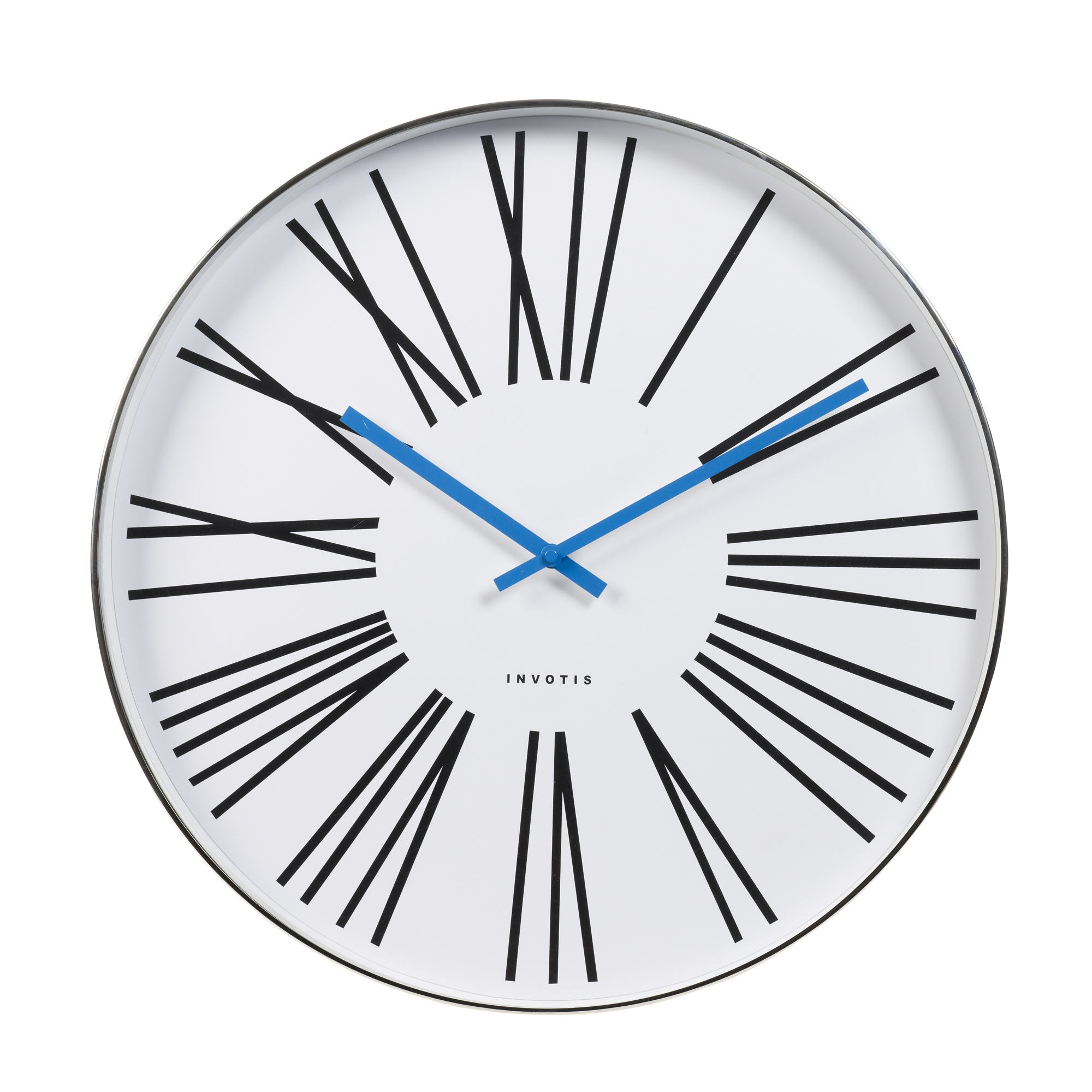 Invotis oversized Wall Clock with Roman Numerals and Blue hand