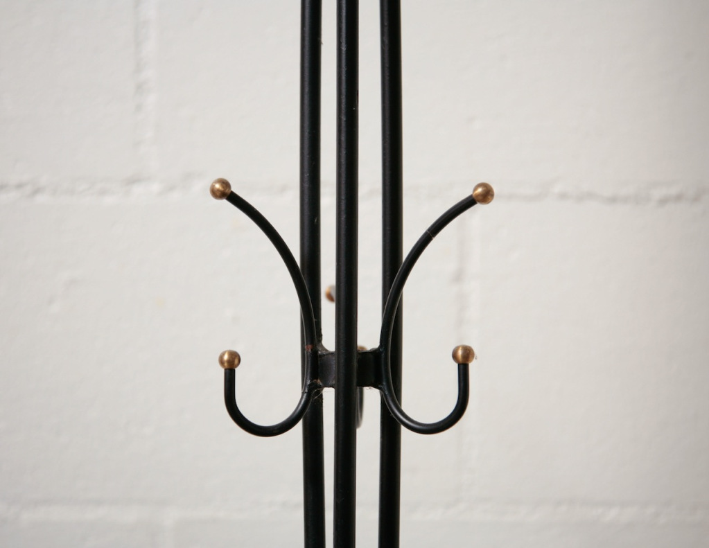 Wonderful Standing Coat Rack For Inspiring Furniture Ideas: Jean Royere Style Standing Coat Rack In Black With Curved Hooks