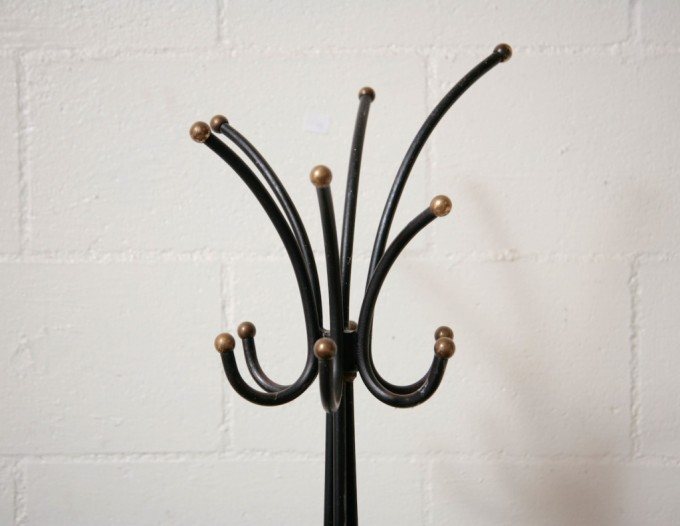 Jean Royere Style Standing Coat Rack With Six Hooks