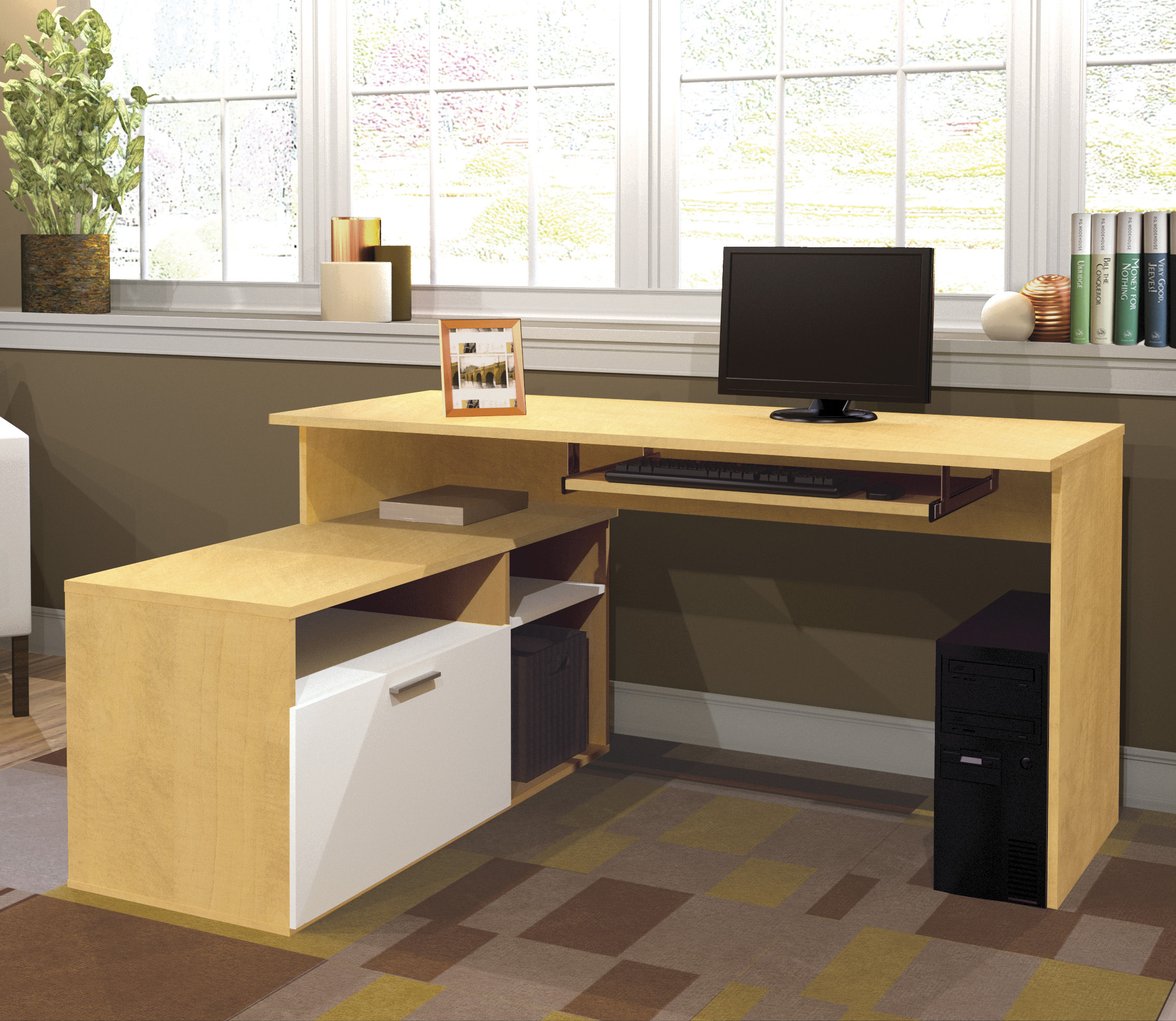 khaki L Shaped Desk With Hutch and drawer plus computer stand on an office home room with tan wall and white window