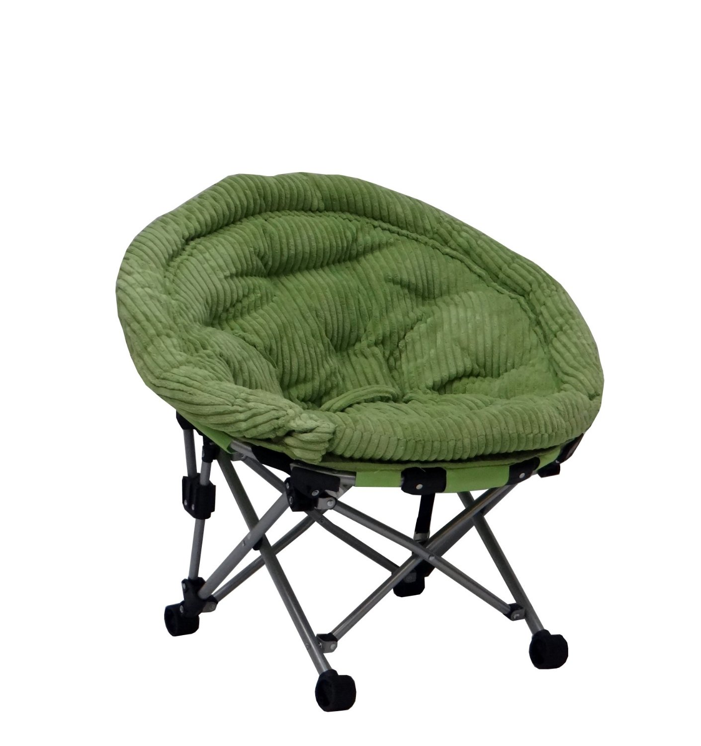 Furniture Kids Papasan Chair With Green Cushions Plus Wheels