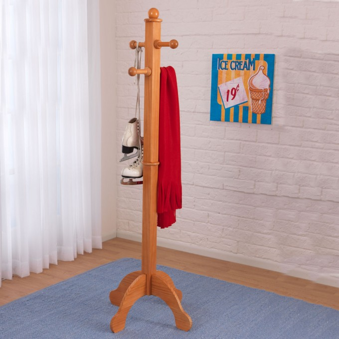 Kids Standing Coat Rack On Bluegray Carpet In A Kids Room With White Wall And White Curtains