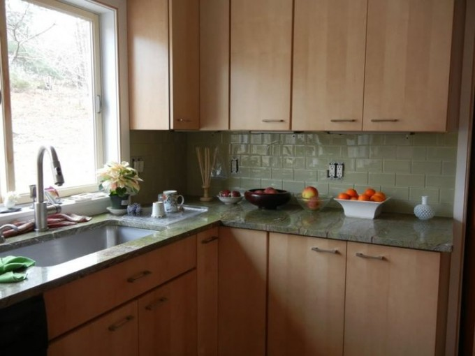 Kitchen Decoration With Green Cancos Tile For Countertop Plus Brown Cabinet Plus Sink Ideas