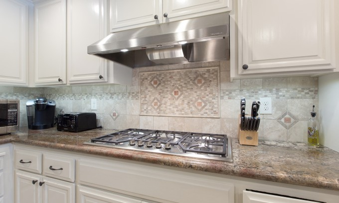 Kitchen Design With Bedrosians Tile For Wall Decor Plus Oven And White Cabinet