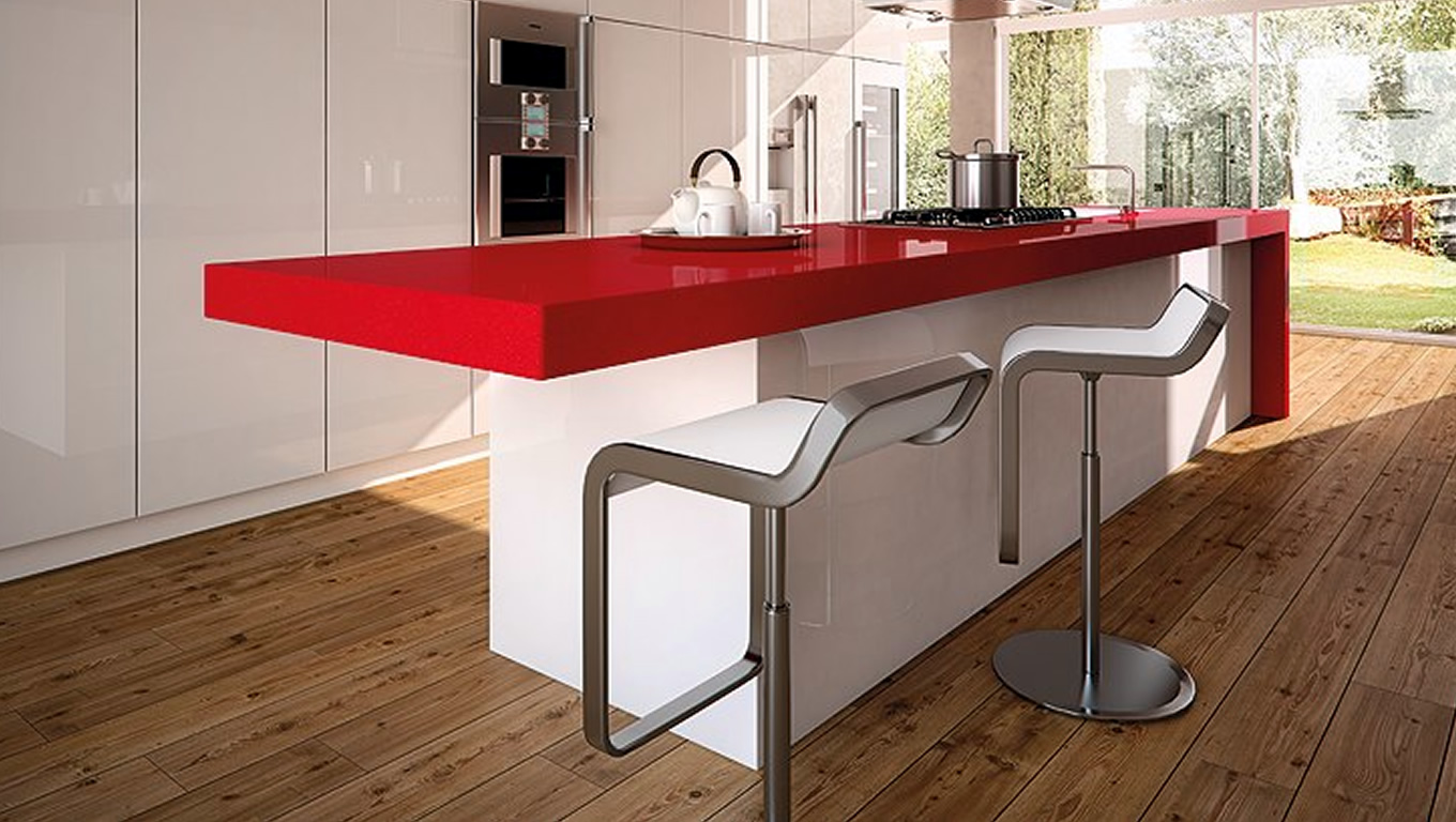 Kitchen Design with Red Shimmer Surface by Caesarstone