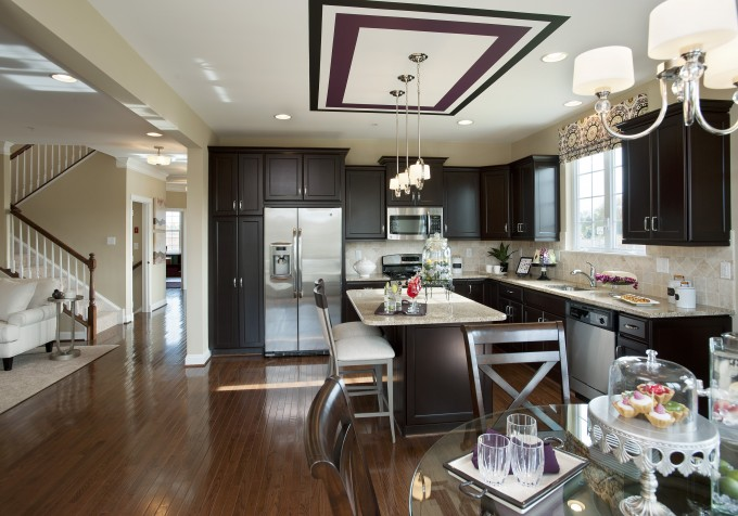 Kitchen Design With Sprintz Furniture With Dining Table Plus Darkbrown Cabinet Plus Frige And Chandelier Ideas
