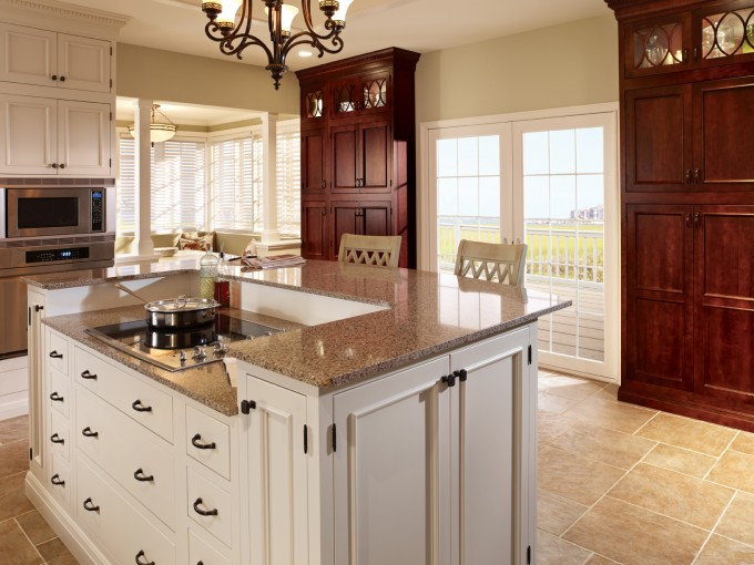 Kitchen Design With White Aristokraft Cabinets With Wheat Countertop Plus Oven And Chairs Plus Chandelier Ideas