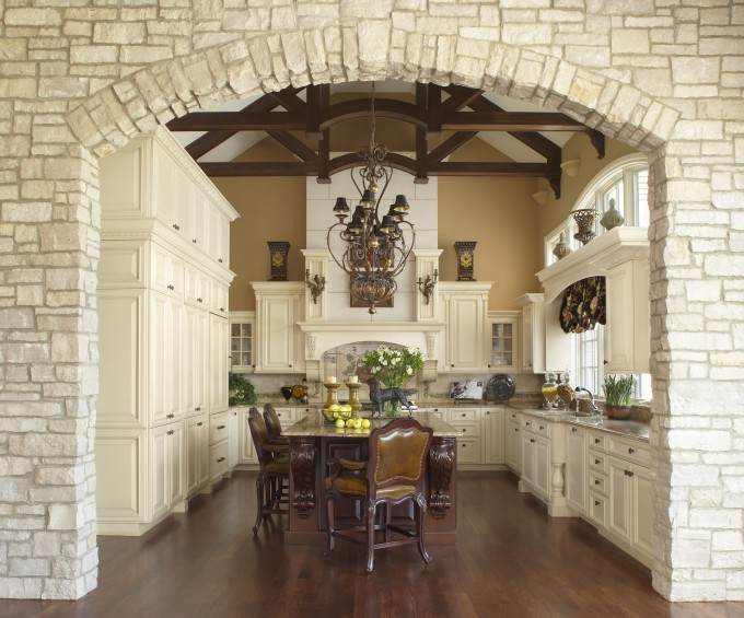 Kitchen Design With White Lafata Cabinets Plus Dining Table And Chandelier Ideas