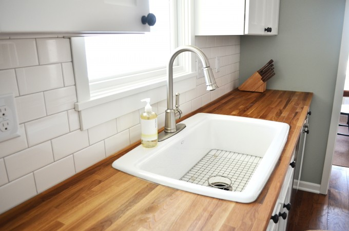 Kitchen Interesting Ikea Numerar Butcher Block Countertops With White Sink And Silver Faucet For Kitchen Furniture Ideas