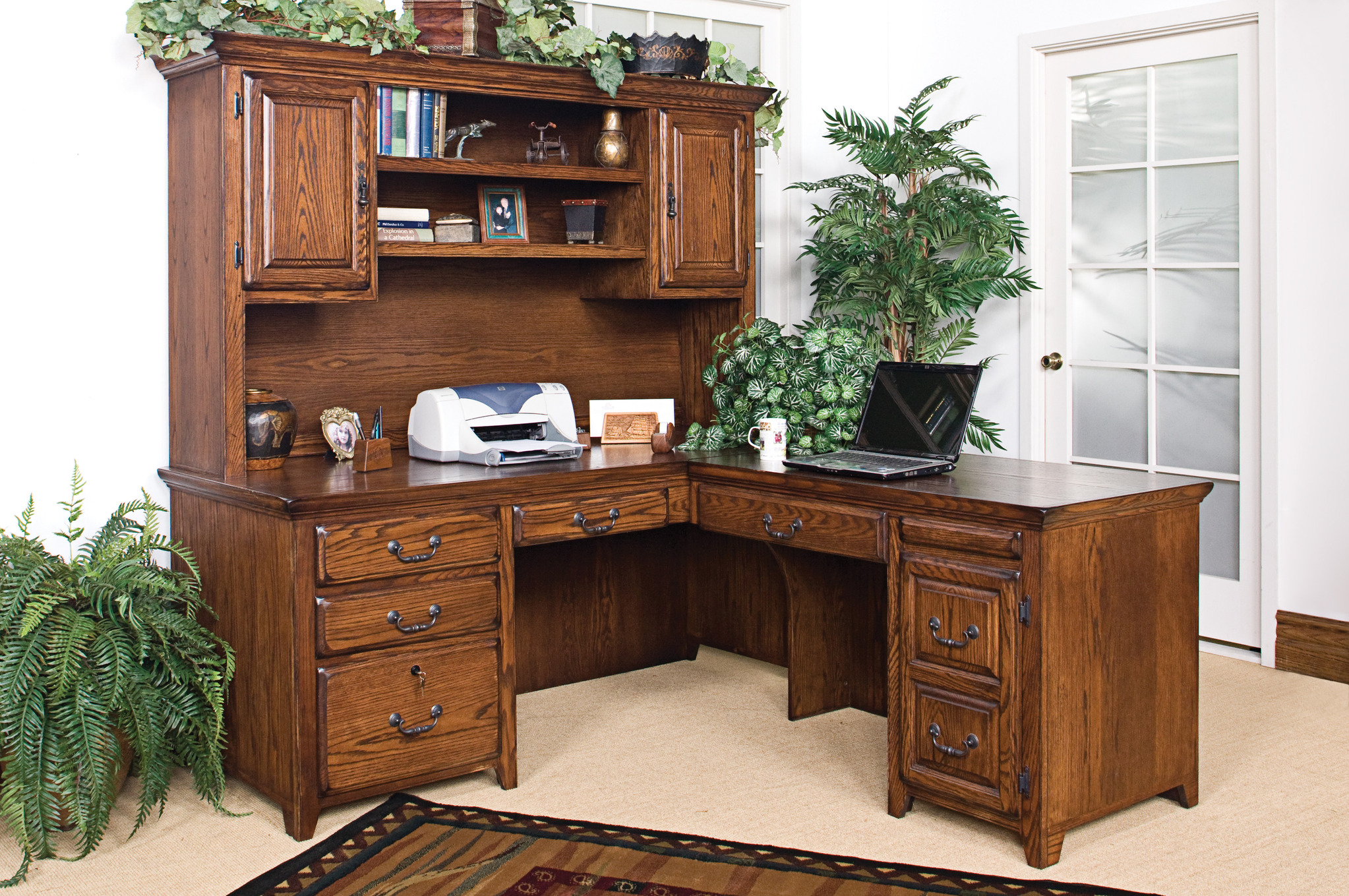 l shaped Desk With Hutch and drawer before the white wall for home office decor ideas